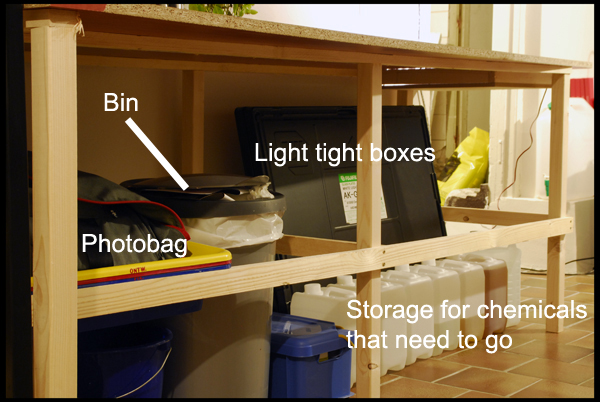 Bin, light thight boxes for photos, canisters to store my chemical waste, photobag