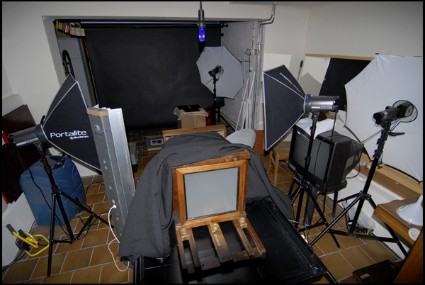 The setup used to take the photos, a bit messy ;-)