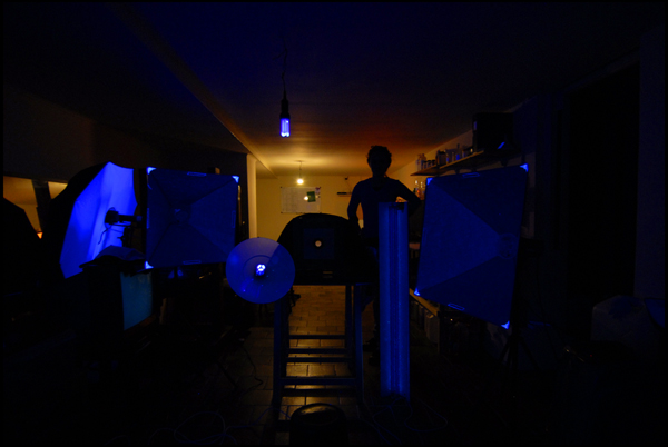 The setup with only the UV lights on