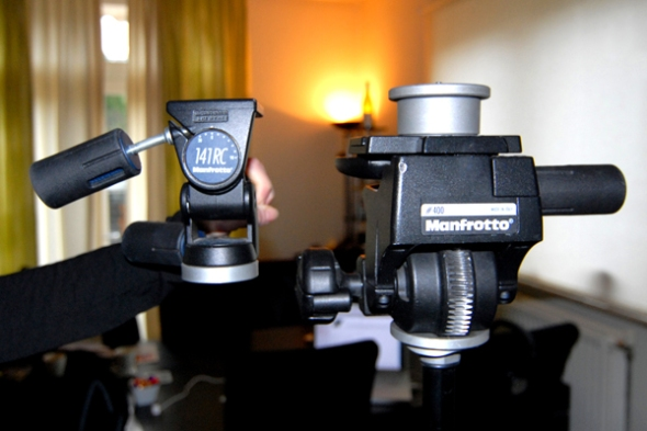Manfrotto 400 Geared Head next to its little brother the 141RC