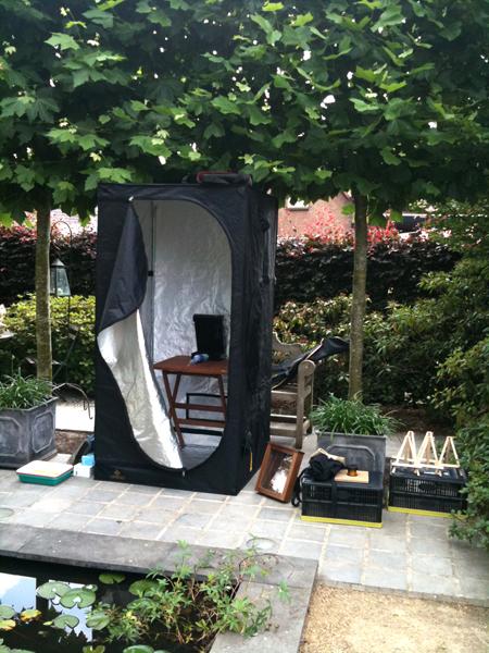 My darkroom tent up closer