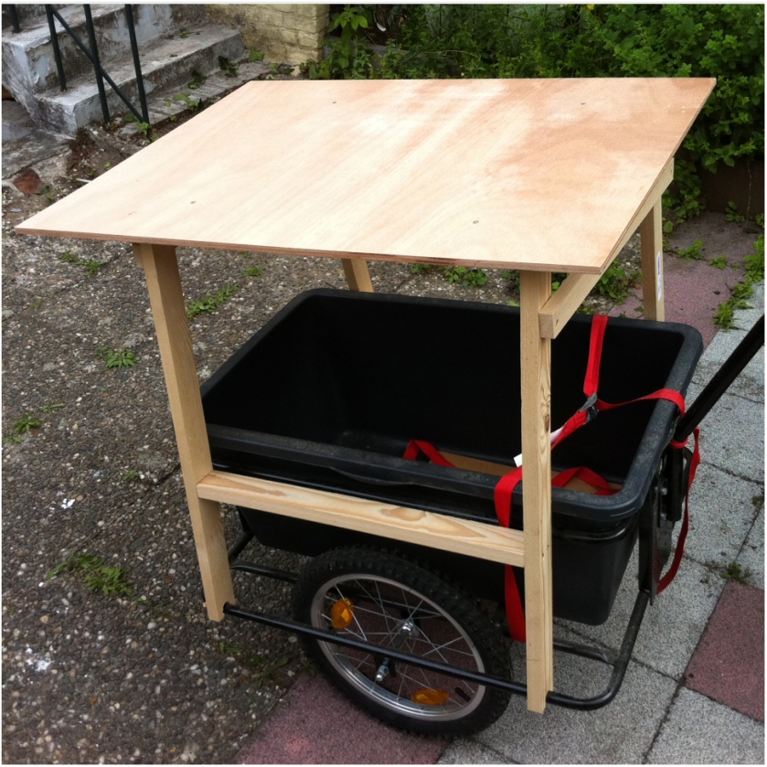 The table on which the darkbox will reside. This table fits on the cart for my bike so I can drive it all around Maastricht without it touching its soil.